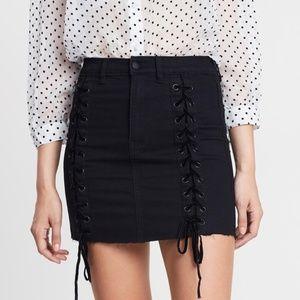 Neon Blonde / Black Tease Tie Skirt NWT